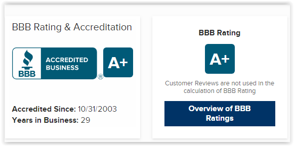 BBB Accredited since October 31, 2003. A+ Rating