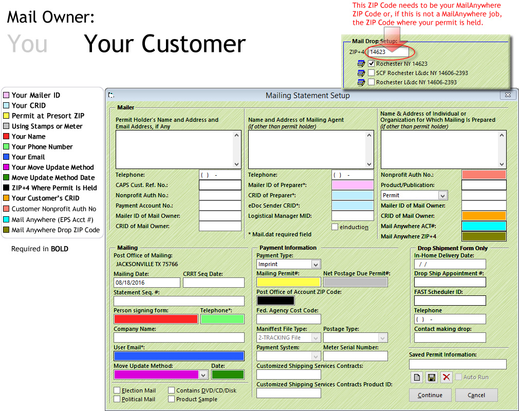 Mailing Statement Setup window for AccuZIP6